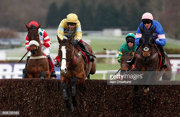 Aidan Coleman riding Arthur's Oak on their way to winning The Betfred 'Treble The Odds On Lucky 15's' Handicap Steeple Chase at Sandown racecourse on...