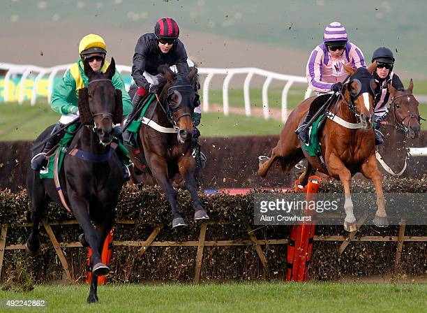 Aidan Coleman riding Broughton on their way to winning The Get Social With @totepool On Twitter Handicap Hurdle Race at Chepstow racecourse on...