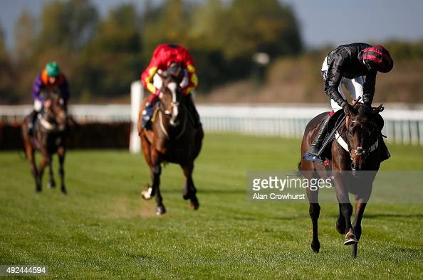 Aidan Coleman riding Nabucco clear the last to win The 32Red On The App Store Novices' Hurdle Race at Huntingdon racecourse on October 13 2015 in...