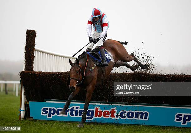 Aidan Coleman riding Saroque loses the reins as they clear the last to win The Smith Williamson Handicap Steeple Chase at Exeter racecourse on...