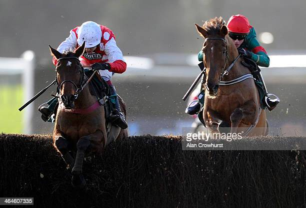 Aidan Coleman riding Union Jack D'Ycy clear the last to win The rewards4racingcom Handicap Steeple Chase at Warwick racecourse on January 23 2014 in...