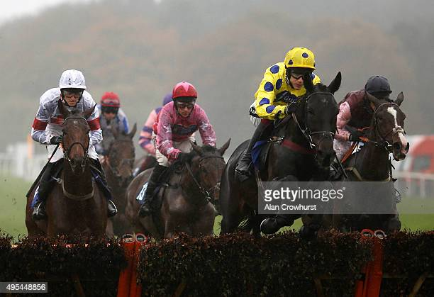 Aidan Coleman riding Yala Enki on their way to winning The Bathwick Tyres Bideford 'National Hunt' Novices' Hurdle Race at Exeter racecourse on...