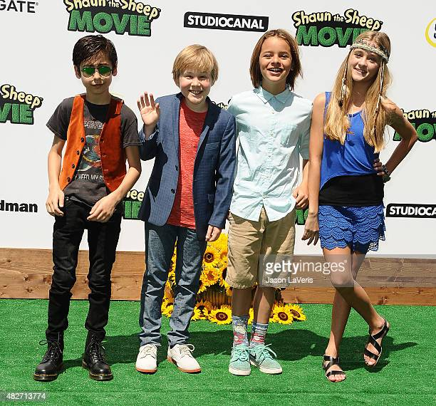 Aidan Gallagher Casey Simpson Mace Coronel and Lizzy Greene attend a screening of Lionsgate's 'Shaun The Sheep Movie' at Regency Village Theatre on...