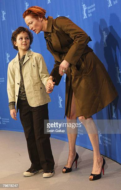 Aidan Gould and Tilda Swinton attend the 'Julia' Photocall and Press Conference as part of the 58th Berlinale Film Festival at the Grand Hyatt Hotel...