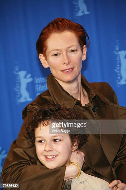 Aidan Gould and Tilda Swinton attend the 'Julia' photocall during day three of the 58th Berlinale International Film Festival held at the Grand Hyatt...