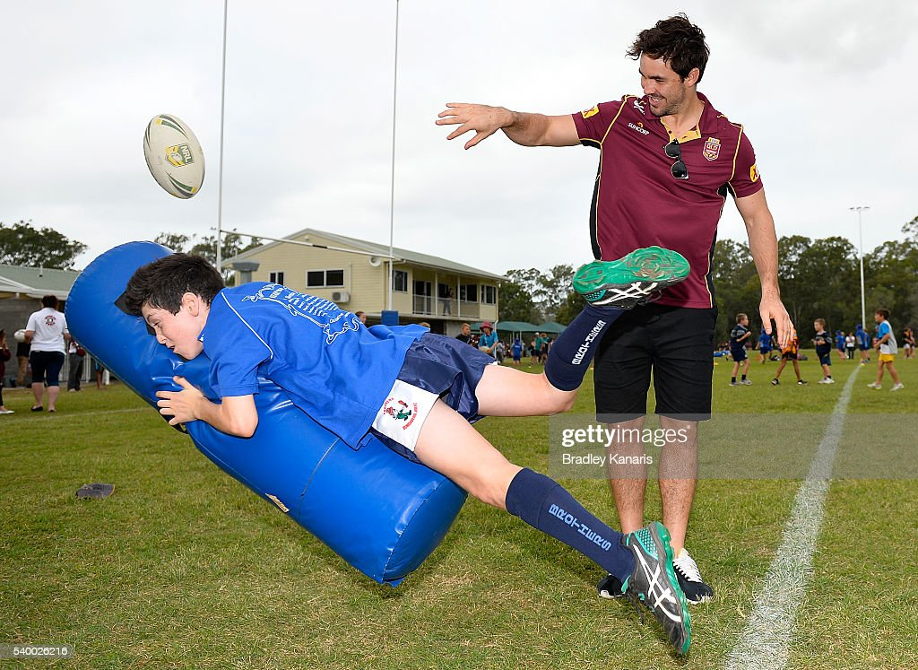 Aidan Guerra helps out at a Junior Rugby League Clinic during a Queensland Maroons State of Origin Fan Day on June 14, 2016 in Gladstone, Australia.