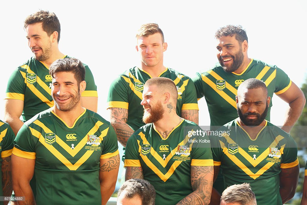 Aidan Guerra, <a gi-track='captionPersonalityLinkClicked' href=/galleries/search?phrase=James+Tamou&family=editorial&specificpeople=5563889 ng-click='$event.stopPropagation()'>James Tamou</a>, Josh McGuire, <a gi-track='captionPersonalityLinkClicked' href=/galleries/search?phrase=Josh+Dugan&family=editorial&specificpeople=5553377 ng-click='$event.stopPropagation()'>Josh Dugan</a>, <a gi-track='captionPersonalityLinkClicked' href=/galleries/search?phrase=Sam+Thaiday&family=editorial&specificpeople=540245 ng-click='$event.stopPropagation()'>Sam Thaiday</a> and <a gi-track='captionPersonalityLinkClicked' href=/galleries/search?phrase=Semi+Radradra&family=editorial&specificpeople=7896121 ng-click='$event.stopPropagation()'>Semi Radradra</a> wait as they set up for the team photo during the Australia Kangaroos Test team photo session at Crowne Plaza Coogee on May 2, 2016 in Sydney, Australia.