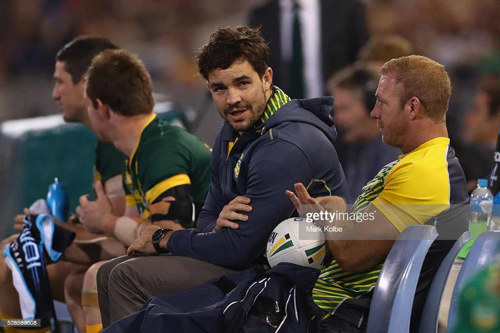 Aidan Guerra of the Kangaroos watches on from the bench during the International Rugby League Trans Tasman Test match between the Australian Kangaroos and the New Zealand Kiwis at Hunter Stadium on May 6, 2016 in Newcastle, Australia.