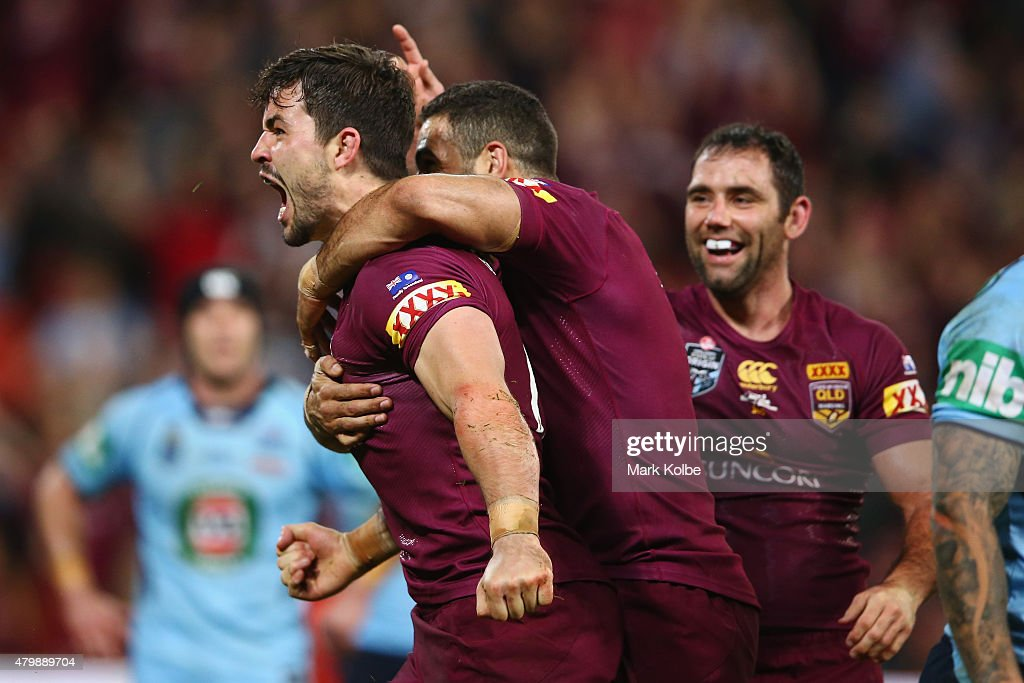 Aidan Guerra of the Maroons celebrates scoring a try during game three of the State of Origin series between the Queensland Maroons and the New South Wales Blues at Suncorp Stadium on July 8, 2015 in Brisbane, Australia.