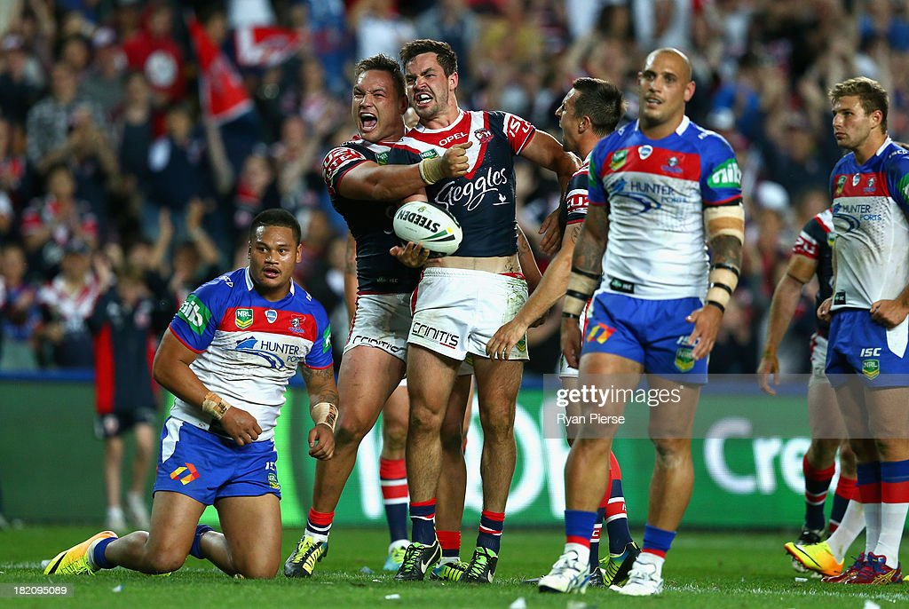 Aidan Guerra of the Roosters celebrates after scoring a try during the NRL Preliminary Final match between the Sydney Roosters and the Newcastle Knights at Allianz Stadium on September 28, 2013 in Sydney, Australia.