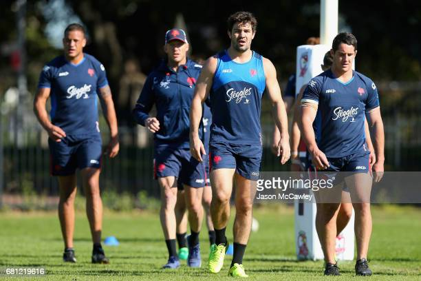 Aidan Guerra of the Roosters during a Sydney Roosters NRL training session at Kippax Lake on May 10 2017 in Sydney Australia
