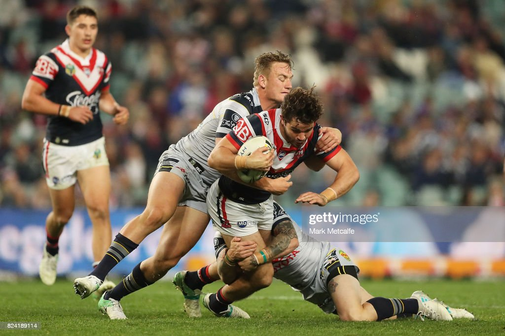 Aidan Guerra of the Roosters is tackled during the round 21 NRL match between the Sydney Roosters and the North Queensland Cowboys at Allianz Stadium on July 29, 2017 in Sydney, Australia.