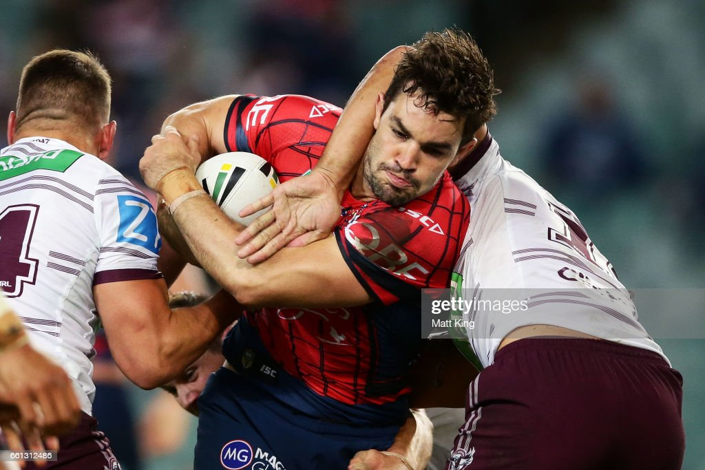 Aidan Guerra of the Roosters is tackled during the round five NRL match between the Sydney Roosters and the Manly Sea Eagles at Allianz Stadium on March 31, 2017 in Sydney, Australia.