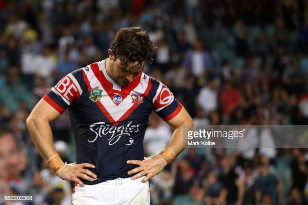 Aidan Guerra of the Roosters looks dejected after defeat during the NRL Preliminary Final match between the Sydney Roosters and the North Queensland...