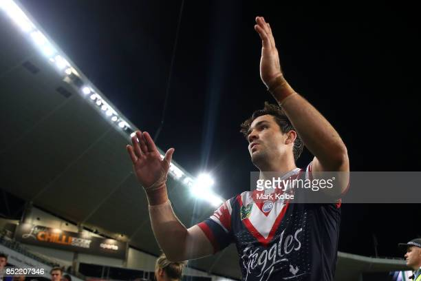 Aidan Guerra of the Roosters looks dejected as he leaves the field after defeat during the NRL Preliminary Final match between the Sydney Roosters...