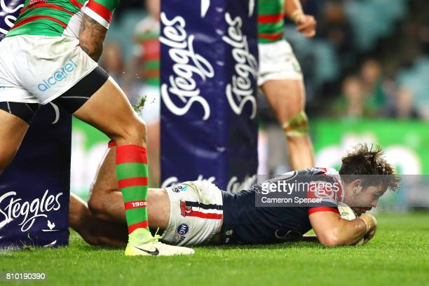 Aidan Guerra of the Roosters scores a try during the round 18 NRL match between the Sydney Roosters and the South Sydney Rabbitohs at Allianz Stadium...