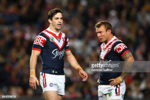 Aidan Guerra of the Roosters talks to team mates during the NRL Qualifying Final match between the Sydney Roosters and the Brisbane Broncos at...
