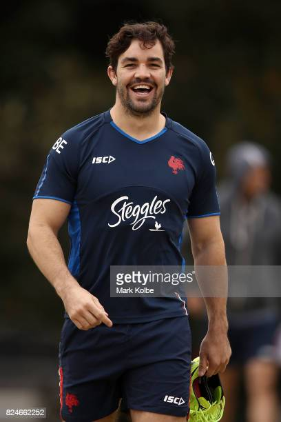 Aidan Guerra shares a laugh with a team mate during a Sydney Roosters NRL training session at Allianz Stadium on July 31 2017 in Sydney Australia