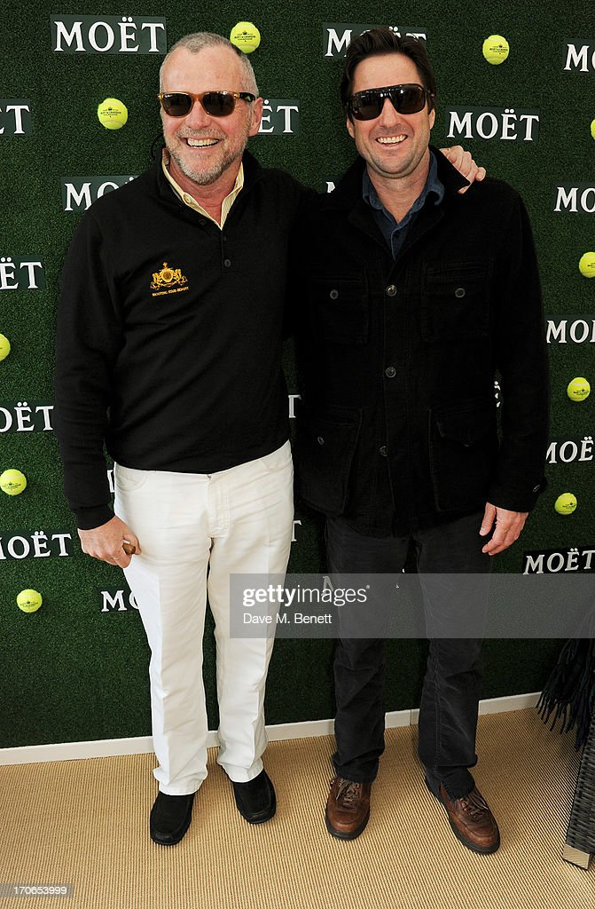 Aidan Quinn (L) and Luke Wilson attend The Moet & Chandon Suite at The Aegon Championships Queens Club finals on June 16, 2013 in London, England.
