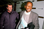 Aidan Quinn and Sidney Poitier during 2005 Sundance Film Festival 'Nine Lives' Premiere at Eccles Theatre in Park City Utah United States