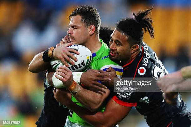 Aidan Sezer of the Raiders charges forward during the round 23 NRL match between the New Zealand Warriors and the Canberra Raiders at Mt Smart...