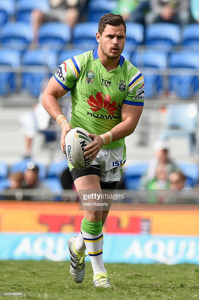 Aidan Sezer of the Raiders warms up on the field before the round 16 NRL match between the Gold Coast Titans and the Canberra Raiders at Cbus Super Stadium on June 26, 2016 in Gold Coast, Australia.
