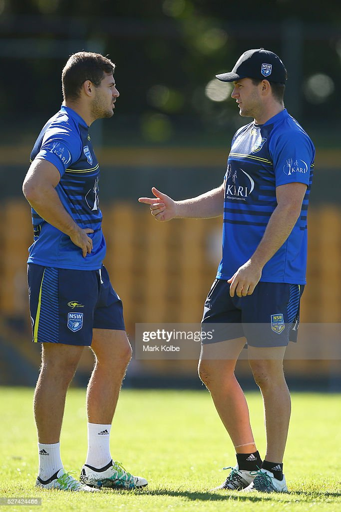 Aidan Sezer speaks to Chad Townsend during a City NSW Origin training session at Leichhardt Oval on May 3, 2016 in Sydney, Australia.