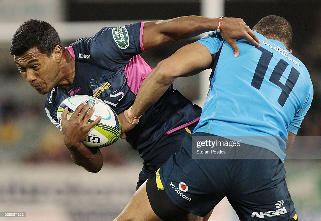 Aidan Toua of the Brumbies is tackled during the round 11 Super Rugby match between the Brumbies and the Bulls at GIO Stadium on May 6, 2016 in Canberra, Australia.