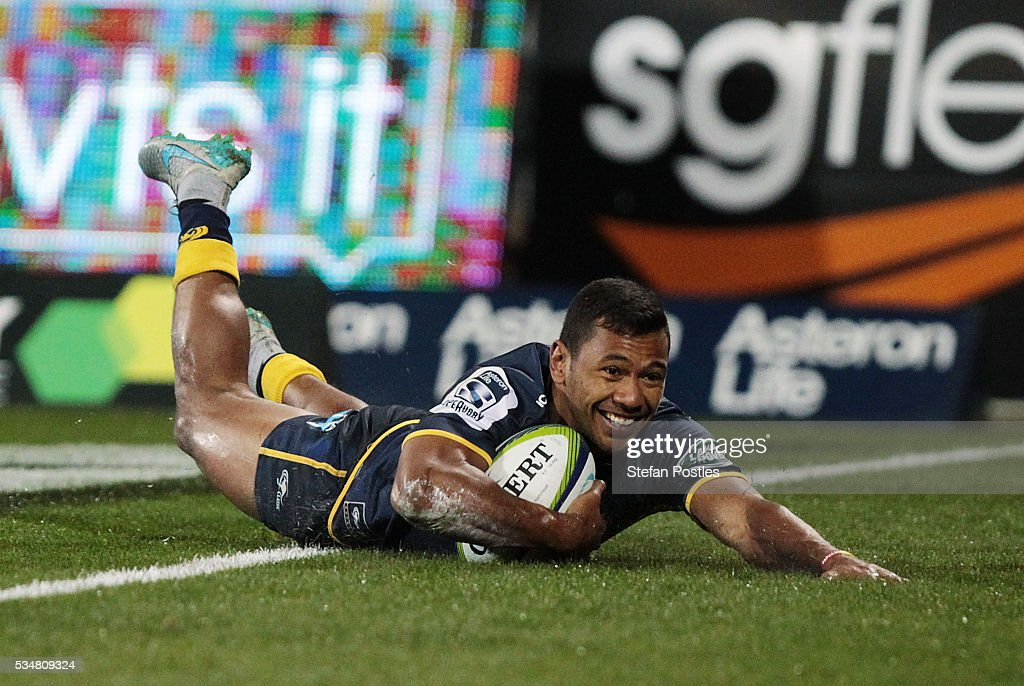 Aidan Toua of the Brumbies scores a try during the round 14 Super Rugby match between the Brumbies and the Sunwolves at GIO Stadium on May 28, 2016 in Canberra, Australia.