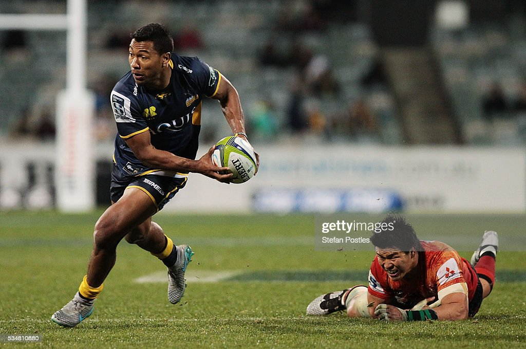 Aidan Toua of the Brumbies steps out of a tackle during the round 14 Super Rugby match between the Brumbies and the Sunwolves at GIO Stadium on May 28, 2016 in Canberra, Australia.