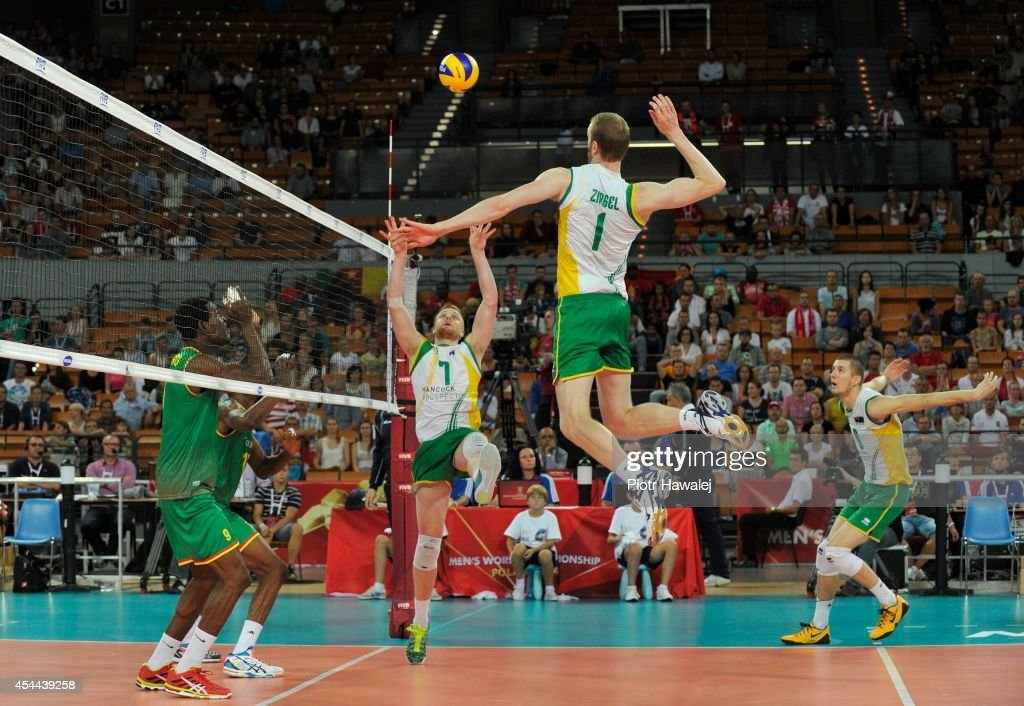 Aidan Zingel of Australia spikes the ball during the FIVB World Championships match between Cameroon and Australia on August 31, 2014 in Wroclaw, Poland.