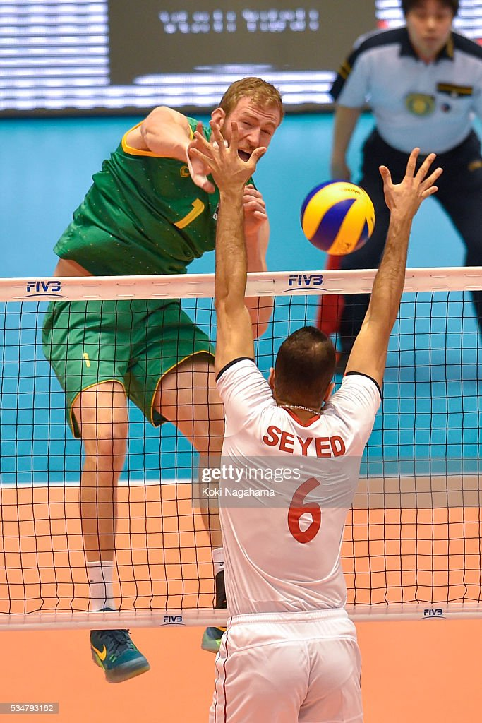 Aidan Zingel #1 of Australia spikes the ball during the Men's World Olympic Qualification game between Iran and Australia at Tokyo Metropolitan Gymnasium on May 28, 2016 in Tokyo, Japan.