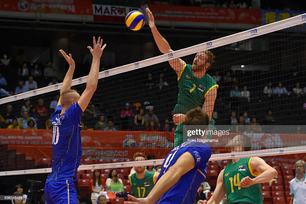 Aidan Zingel #1 of Australia spikes the ball during the Men's World Olympic Qualification game between France and Australia at Tokyo Metropolitan Gymnasium on June 1, 2016 in Tokyo, Japan.