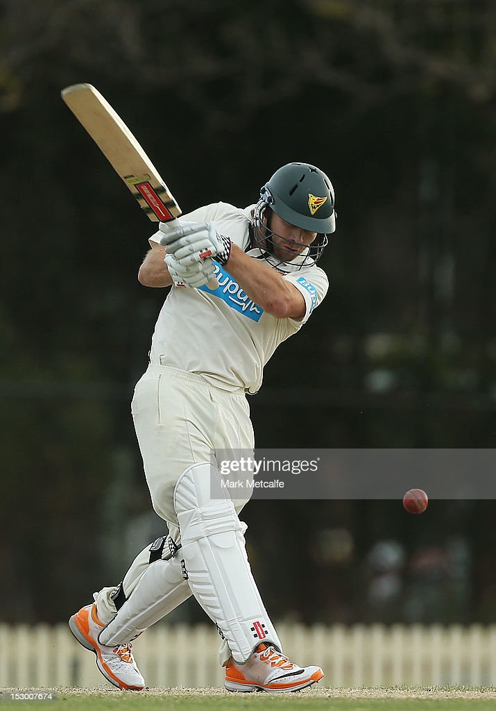 Aiden Blizzard of Tasmania bats during day four of the Sheffield Shield match between the New South Wales Blues and the Tasmanian Tigers at Bankstown Oval on September 29, 2012 in Sydney, Australia.