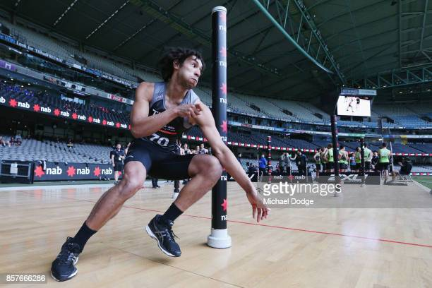 Aiden Bonar from Dandenong Stingrays takes part in Agility test during the AFL Draft Combine at Etihad Stadium on October 5 2017 in Melbourne...