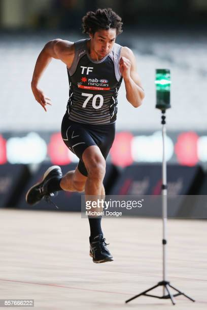 Aiden Bonar from Dandenong Stingrays takes part in the 20m sprint during the AFL Draft Combine at Etihad Stadium on October 5 2017 in Melbourne...