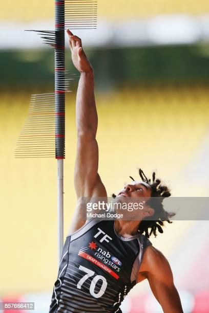 Aiden Bonar from Dandenong Stingrays takes vertical leap test during the AFL Draft Combine at Etihad Stadium on October 5 2017 in Melbourne Australia