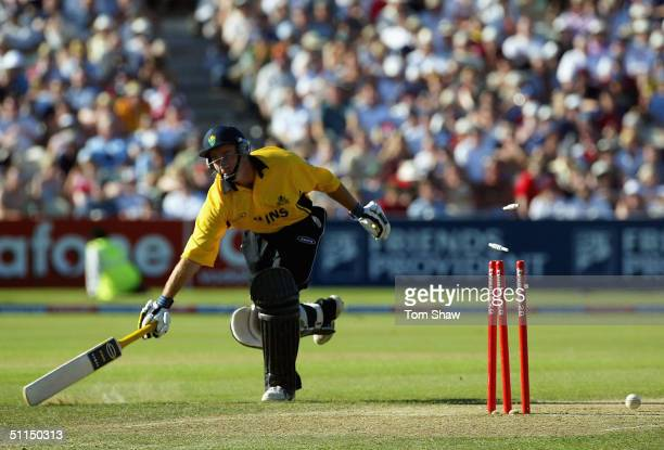 Aiden Dale of Glamorgan is run out during the Glamorgan v Leicestershire Twenty20 cup Semifinal match at Edgbaston Cricket Ground on August 7 2004 in...