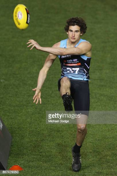 Aiden Domic of GWV Rebels kicks the ball during the AFLW Draft Combine at Etihad Stadium on October 4 2017 in Melbourne Australia