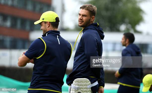 Aiden Markram of South Africa speaks to Heino Kuhn during a nets session at Old Trafford on August 2 2017 in Manchester England