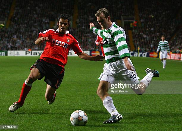 Aiden McGeady of Celtic competes for the ball against Luis Filipe of Benfica during the UEFA Champions League Group D match between Celtic and...