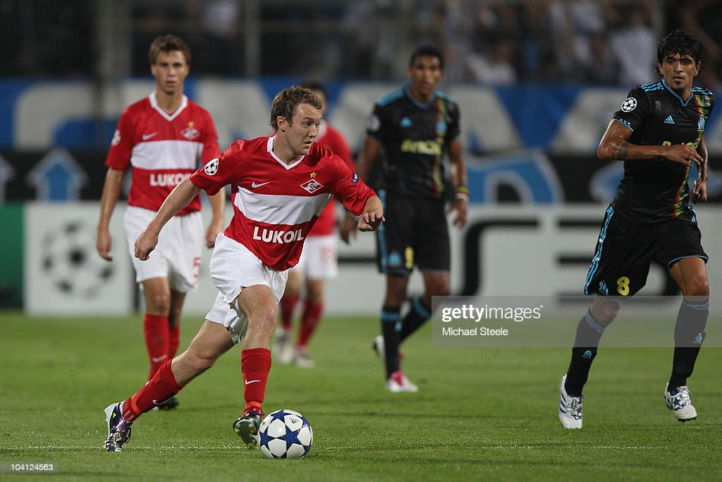 <a gi-track='captionPersonalityLinkClicked' href=/galleries/search?phrase=Aiden+McGeady&family=editorial&specificpeople=713430 ng-click='$event.stopPropagation()'>Aiden McGeady</a> of Spartak during the UEFA Champions League Group F match between Olympique Marseille and Spartak Moscow at the Stade Velodrome on September 15, 2010 in Marseille, France.