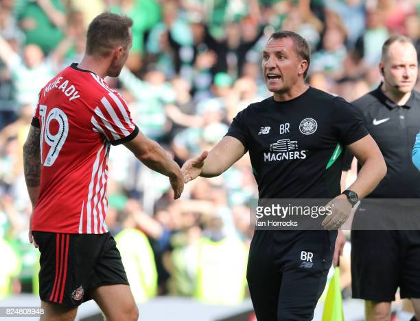 Aiden McGeady of Sunderland shakes hands with Celtic manager Brendan Rodgers during a preseason friendly match between Sunderland AFC and Celtic at...