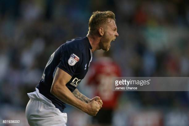 Aiden O'Brien of Millwall celebrates scoring his sides second goal during the Sky Bet Championship match between Millwall and Ipswich Town at The Den...