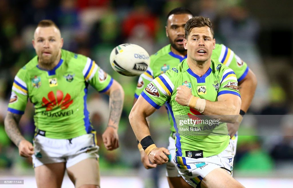 Aiden Sezer of the Raiders passes during the round 20 NRL match between the Canberra Raiders and the Melbourne Storm at GIO Stadium on July 22, 2017 in Canberra, Australia.