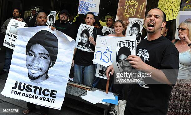 Aidge Patterson of the LA Coalition for Justice for Oscar Grant leads a protest rally outside a pretrial hearing for Johannes Mehserle the former Bay...