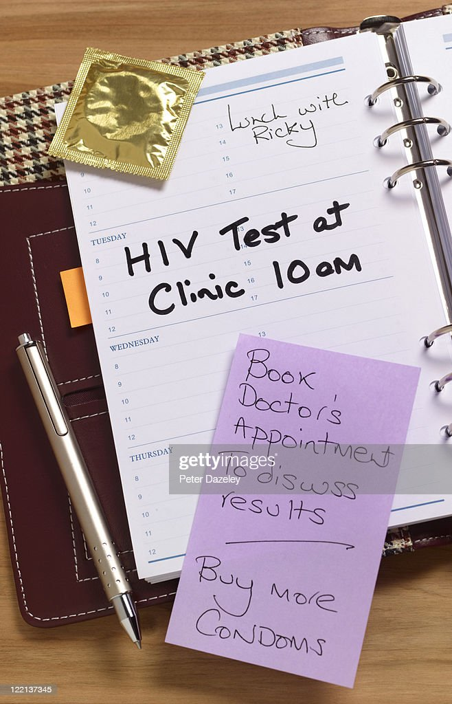 Aids test appointment in diary : Stock Photo