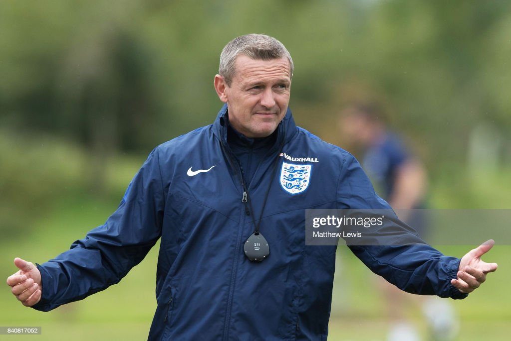 Aidy Boothroyd, manager of England gestures during an England Under 21 training session at St George's Park on August 30, 2017 in Burton-upon-Trent, England.