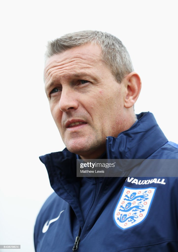 Aidy Boothroyd, manager of England looks on after an England Under 21 training session at St George's Park on August 30, 2017 in Burton-upon-Trent, England.