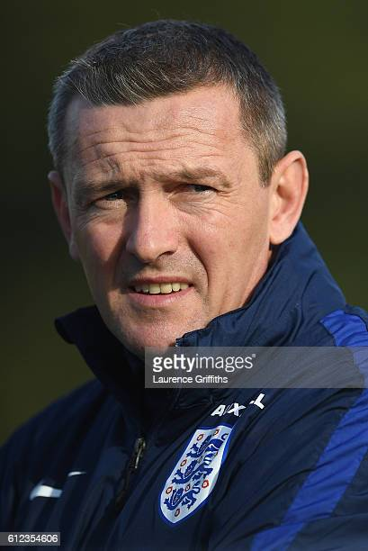 Aidy Boothroyd of England U21 looks on during a training session at St Georges Park on October 4 2016 in BurtonuponTrent England
